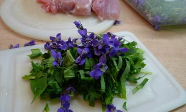 Česnek na hrubo s fialkami jemně