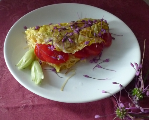 Omeleta s květy yuccy