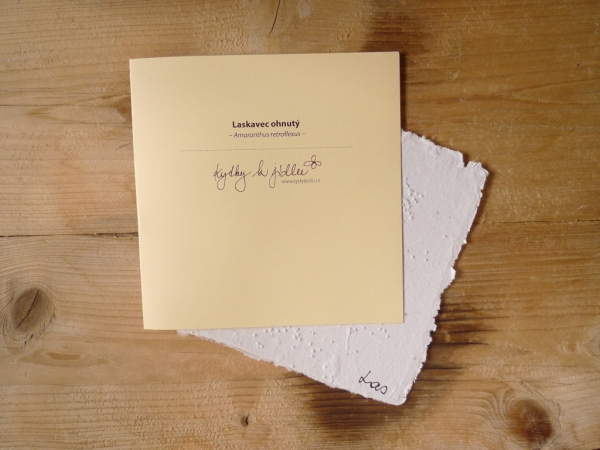 Ruční papír velký se semínky laskavce ohnutého
